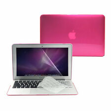 """3 in 1 Crystal HOT PINK Hard Case for MacbookAir 11"""" A1370/ A1465 +Keycover +LCD"""