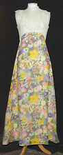 AMAZING VINTAGE 1960s FLOATY PSYCHEDELIC SPRING FLOWERS RUFFLES PARTY DRESS 8/10