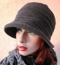 Damenmütze Fleecemütze  in Grau Mütze  Hut  Winter warm Wind rollbar Damenmützen