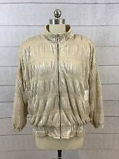Gold Shiny Metallic Oragami Jacket Coat Womens 2X Zip Front Lightweight Disco