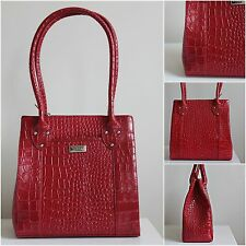 BNWT OSPREY LONDON GRAEME ELLISDON Stunning Red Leather Croc Shoulder Handbag
