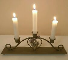Triple Candle Candelabra with Wicker Heart Design - Shabby Chic