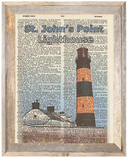 St Johns Point Lighthouse Ireland Altered Art Print Upcycled Vintage Dictionary