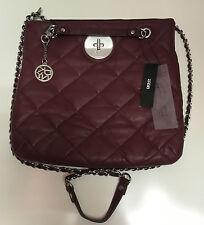 NEW Women's DKNY Quilted Nappa Leather Cross Body Shoulder Bag handbag Burgundy