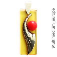 großer Art Deco Anhänger Bakelit Chrom bakelite pendant chrome red amber colour