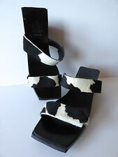 Vintage JOAN & DAVID TOO WOMEN'S WEDGE SANDALS COW PRINT FUR PONY 39 USED