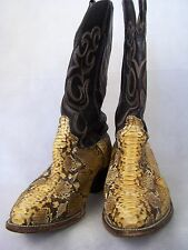 Snakeskin Cowboy Western Boots Mens Black & Yellow Size 9 EE