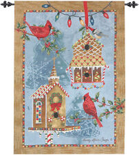 Gingerbread Garden ~ Christmas Cardinals & Birdhouses Tapestry Wall Hanging