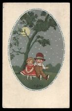CART.D'EPOCA-illustratore C.GIRIS-BAMBINI,LUNA,NOTTE 3