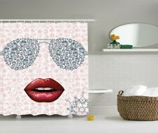 Red Hot Lips Sexy Graphic Shower Curtain Hollywood Glamour Chic Diva Bath Decor