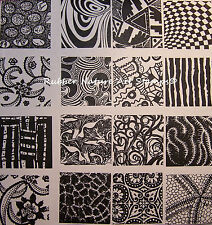 """16 Rubber Nature Art Stamps Deep Etched  1-1/2"""" Sq Designs 4 Ploymer Clay & PMC"""