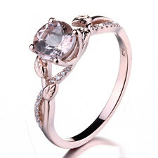 6mm Round Lady Vintage Morganite Bridal Engagement Diamonds Ring 10K Rose Gold