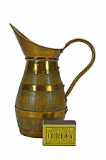 Vintage Brass Bound Staved Wine or Cider Jug, French or Flemish.