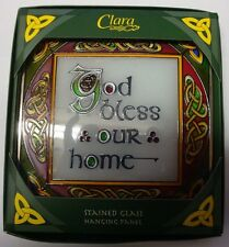 IRELAND Clara Stained Glass GOD BLESS OUR HOME 16cm  HANGING PANEL CELTIC DESIGN