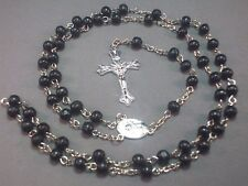 Rosary Necklace Wood Bead Silver Chain Crucifix St Theresa Center BLACK Classic!