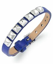 JUICY COUTURE Silver-Tone Pyramid Stud Skinny Blue Leather Bracelet
