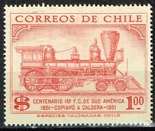 Chile Railroad old Locomotive stamp 1951 MLH