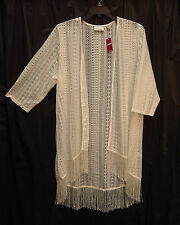 OPEN-FRONT/WEAVE LACE CROCHET FRINGE CARDIGAN JACKET SWEATER TOP~18/20~1X