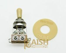 Chrome 3 Way Guitar Toggle Switch Cream Tip and Plate Fits Les Paul SG Epiphone