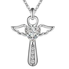 Silver Winged Cross With Heart Shaped Cubic Zirconia Pendant Necklace