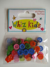 Whiz Kids - 60 Plastic Buttons - mini bright , orange , blue , green , flower ,