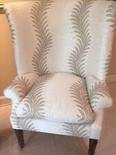 Set of 2 Stunning Wing Back Club Chairs Upholstered, winter white, brown