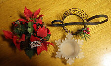 Lot of 3 Christmas Decorations Candle Holders Holiday Snowflake Glass