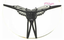 LA-2600Q Plus Queen Sexy Black Sheer Crotchless Sequin Butterfly Appliqued Thong