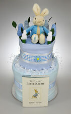BABY BOY TWO 2 TIER NAPPY CAKE WITH PETER RABBIT TOY AND BOOK BABY SHOWER GIFT