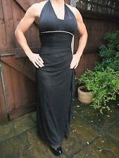 BNWT BLACK GLITTER RUFFLED COCKTAIL DRESS WITH DIAMANTE DETAIL~ COST £40 ~ UK 6