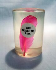 Vintage Daisyglas Paperweight - You Tickle Me Pink - Hot Pink Feather in Resin