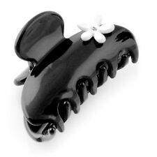 Moliabal Womens Medium Hair Claw in Pure Black with White Floral Design NWT