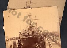 1893 URUGUAY DOCK 2 CABINET PHOTO ARGENTINA BATTLE SHIP BOAT BY W. G. ARMSTRONG