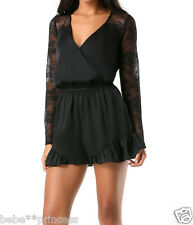 NWT bebe black long sleeve lace insert ruffle hem top dress sexy romper L large