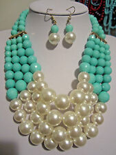 Four Layers Blue Mint Faceted Lucite Bead Cream Faux Pearl Necklace Earring Set