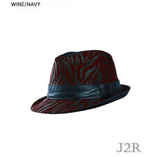 Leopard Printed Pattern Polyester Color Band Fedora 7 3/8 J2R JRJ068 Wine + Navy