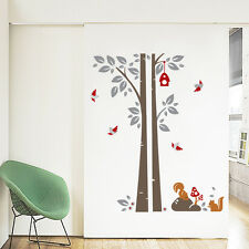 Tree, Bird, Squirrel Wall Stickers. Nursery, Bedroom, Kitchen, Child's, Grey