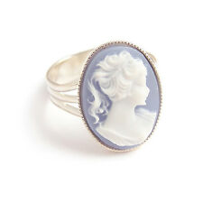 Blue CAMEO lady victorian RING gothic goth steampunk lolita silver adjustable