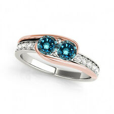 1.3 Carat Blue VS2-SI1 Diamond Solitaire Engagement Ring 14k White&Rose Gold