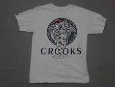 CROOKS & CASTLES MENS HAWAIIAN ISLAND MEDUSA GRAPHIC WHITE SHIRT SMALL PREOWNED