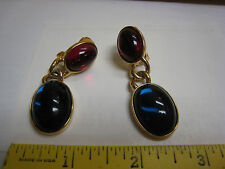 Authentic Stunning KJL Red & Green Cabachon Clip On Earrings Kenneth Jay lane
