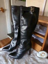 "LOUIS VUITTON BLACK BOOTS KNEE-HIGH SIZE 37.5- 7.5 ZIPPER leather 17.5"" FR GRnD"