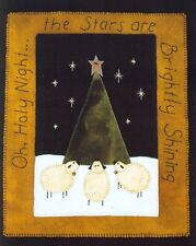 PRIMITIVE WOOL PENNY RUG PATTERN OH HOLY NIGHT SHEEP CHRISTMAS TREE *NEW*