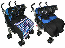 TWIN PUSHCHAIR FOOTMUFF DOUBLE BUGGY BABY CHILD BUGGY PRAM STROLLER  FREE REINS