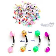 20 x Curved Eyebrow Bars Rings Ball Spike Body Piercing Jewellery Surgical Steel
