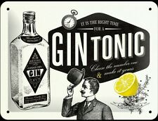 It Is The Right Time For A Gin Tonic Vintage Retro Embossed Metal Sign Bar Pub