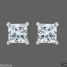 0.50 ct Princess Cut Solitaire Stud Earrings Solid 14k White Gold Screw Back