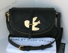 MARC BY MARC JACOBS Petal To The Metal Bird Flap Pouchette Bag Purse Black Gold