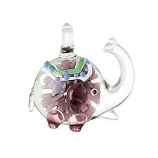 Lampwork Glass Elephant with Flower Pattern Charm Pendant For Necklace (Purple)
