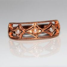 Lovely Pearl 9ct Rose Gold ring size L 1/2 ~ 6